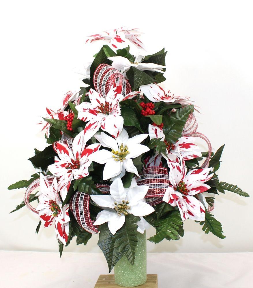 Beautiful Peppermint White Poinsettia's Christmas Cemetery