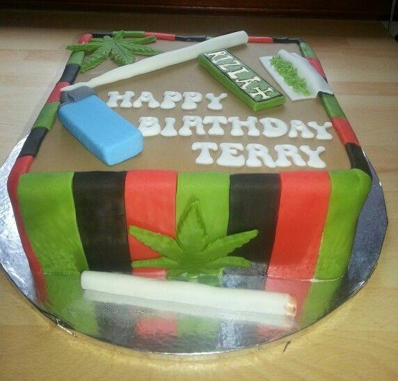 Marijuana Themed Birthday Cake, All Edible & Handmade