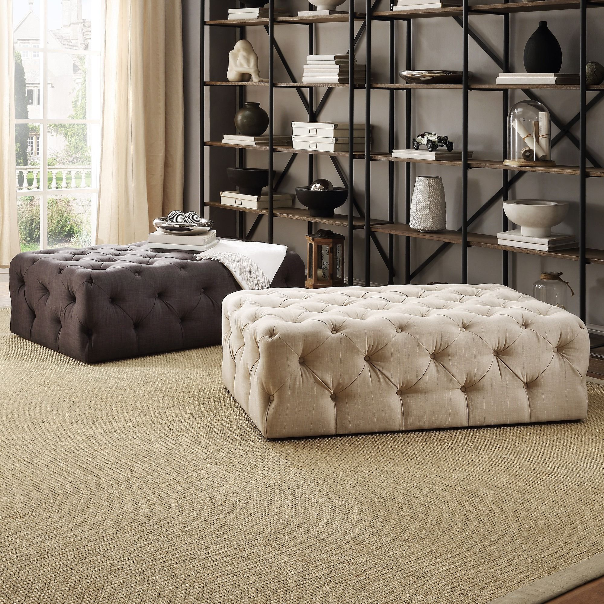 Knightsbridge+Rectangular+Linen+Tufted+Cocktail+Ottoman+with+Casters ...
