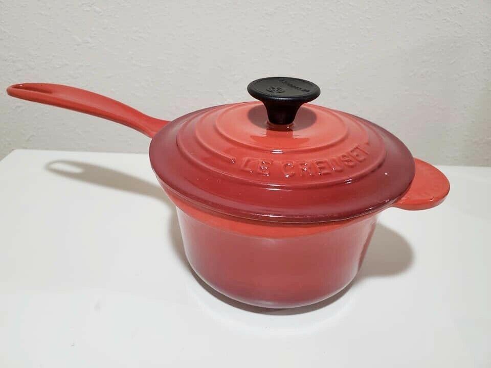 Le Creuset 1 1 4 Qt Saucepan With Lid Cherry Red Ebay In 2020 Creuset Gourmet Cookware Baking Necessities
