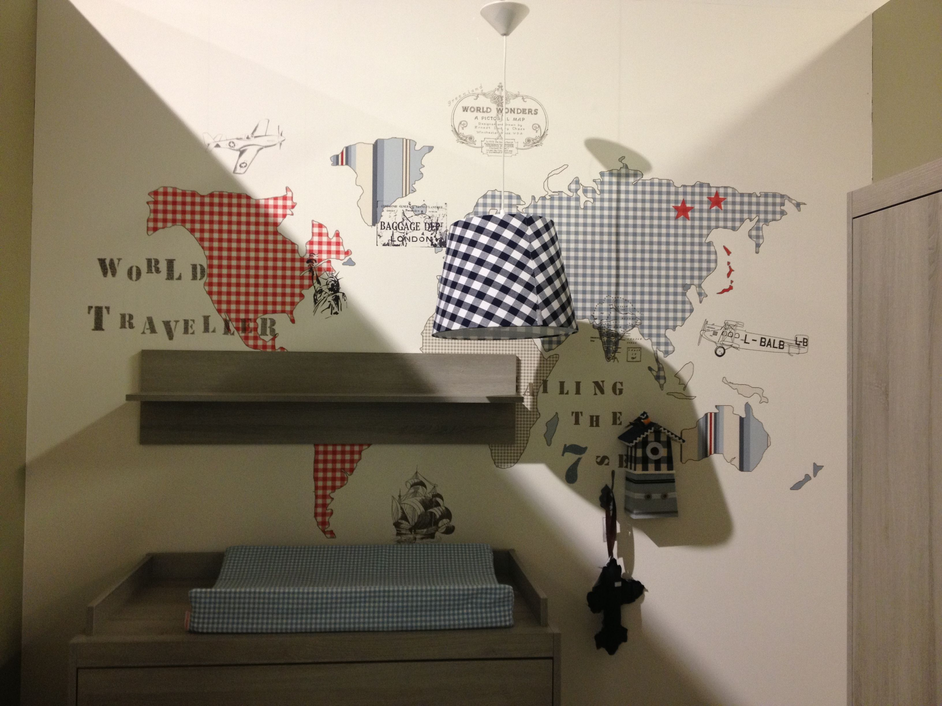 Kinderkamer Behang Vogelhuisjes : World traveller behang inspiratie babykamer