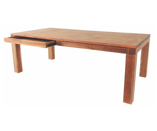 Earth Dining Table With Drawers In Solid Natural Kiaat Furniture