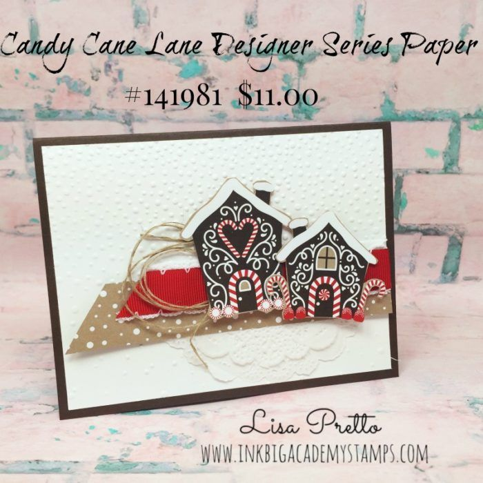 Stampin'Up! Candy Cane Lane Desigenr Series Paper, Christams Card, gingerbread houses, clean and simple
