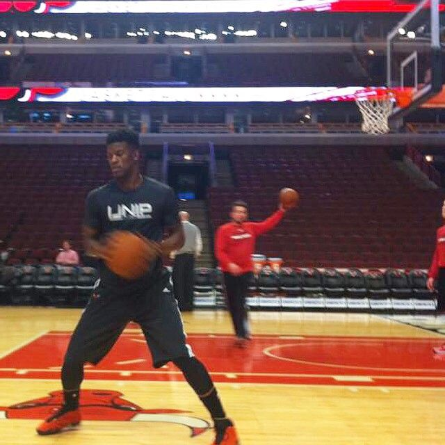 Chicago Bulls' All-Star and NBA's Most Improved Player, Jimmy Butler, warming up before a game wearing his IJNIP EasyDri™ Shirt.  #IJNIP #InJesusNameIPlay #Bulls #NBA
