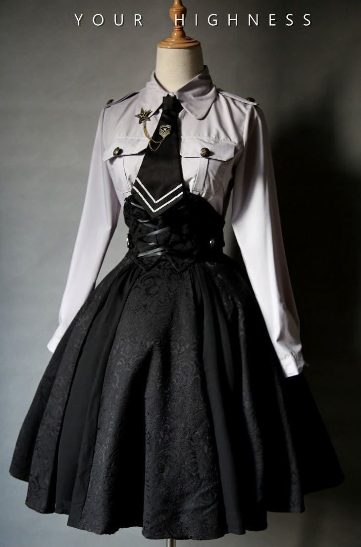 79cc1cee03 Your Highness -The Vow- Military Gothic Lolita Skirt | goth ...