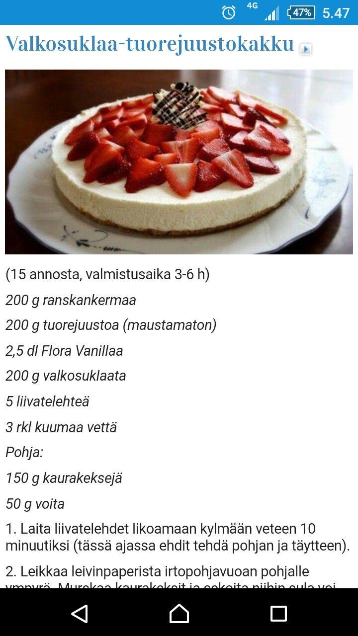 Valkosuklaa tuorejuusto kakku