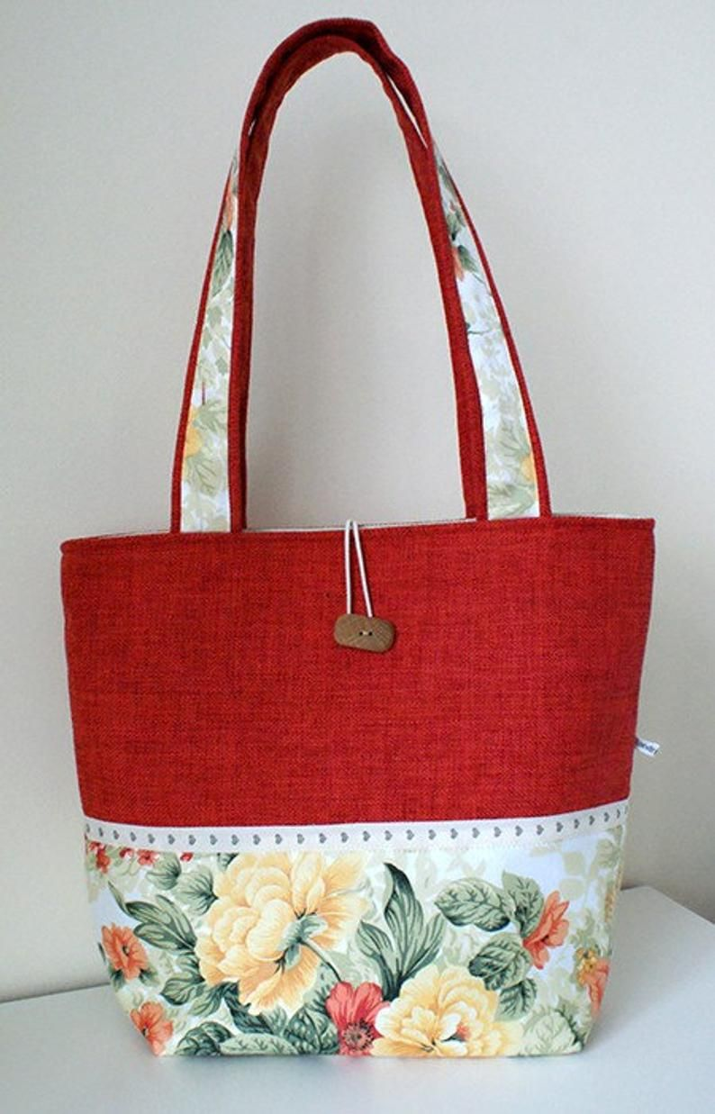 Orange handmade bag with roses and sweethearts/ quality cotton and tapestry