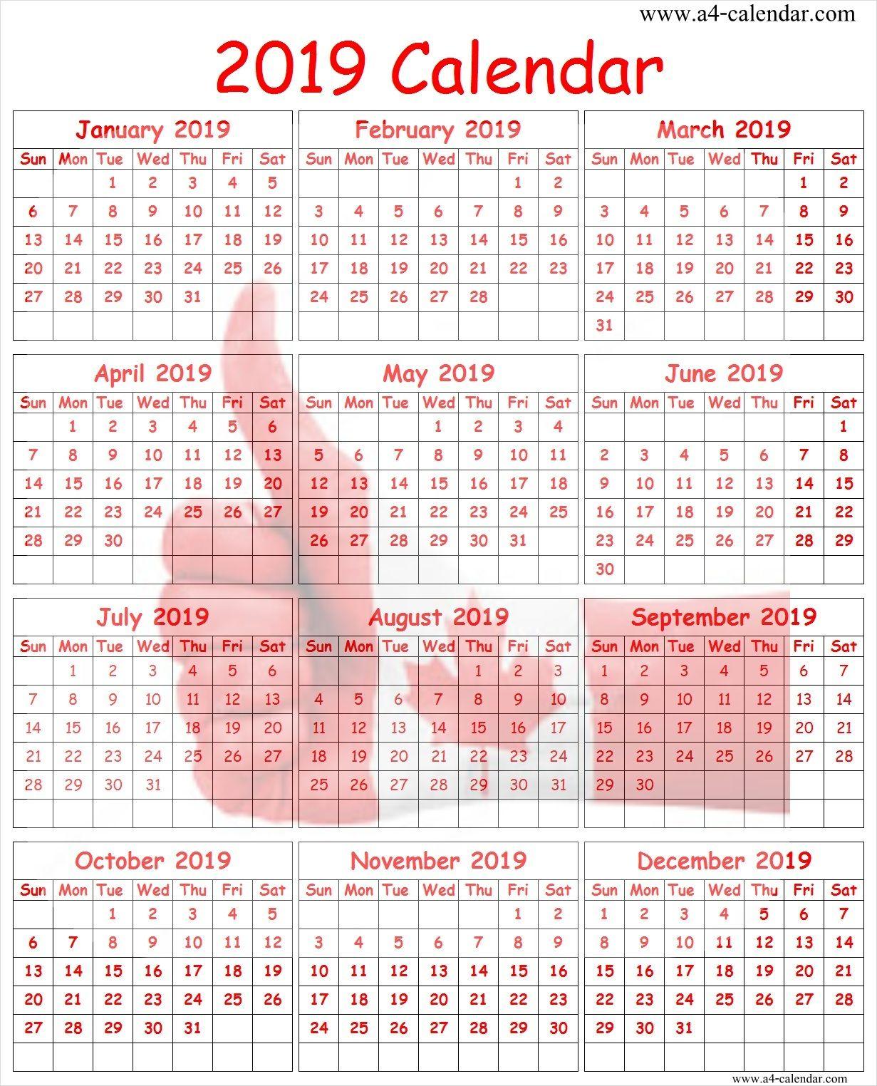 2019 year calendar canada printable