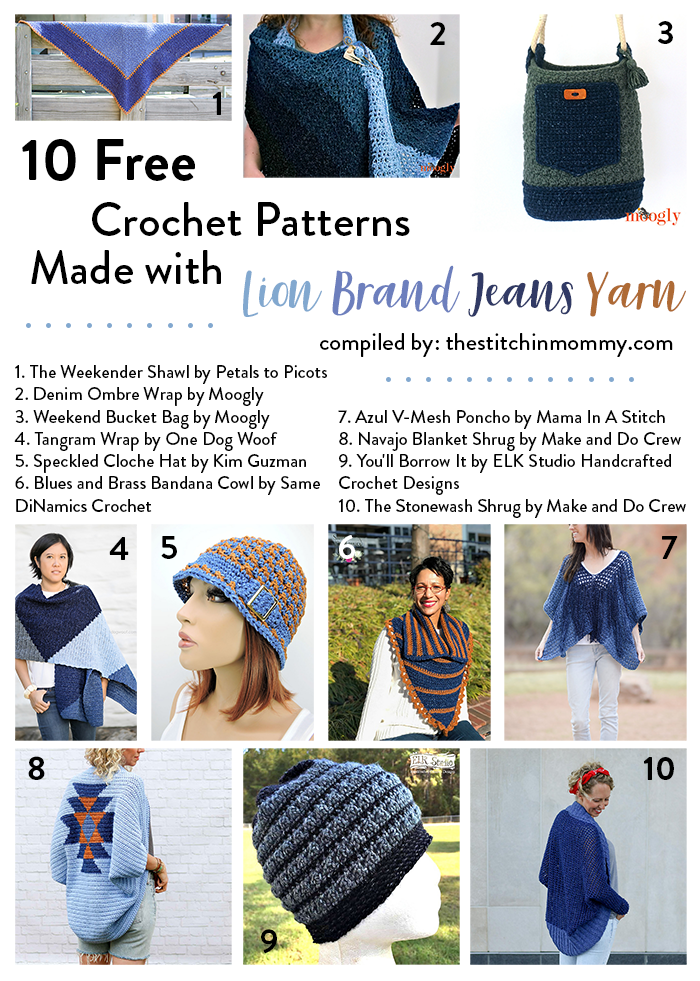 10 Free Crochet Patterns Made with Lion Brand Jeans Yarn | Free ...