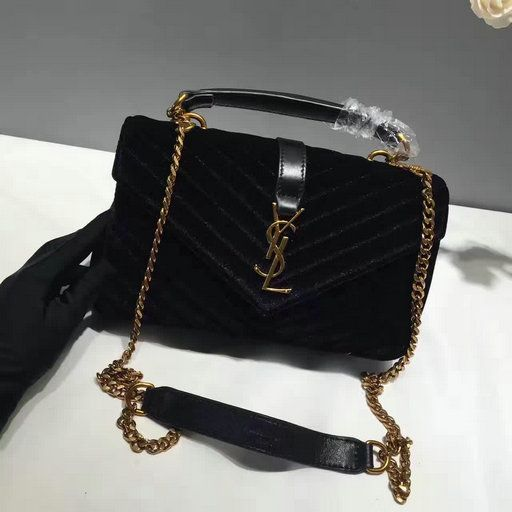 f3a54637434f 2016 A W Saint Laurent Medium College Bag in Black Velvet and Leather