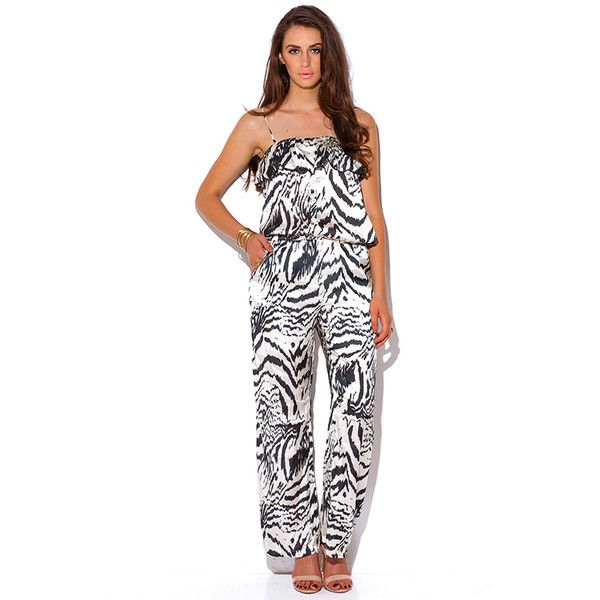 82ccdf0a25a9 Abstract black and ivory animal print silky evening party jumpsuit ( 20) ❤  liked on