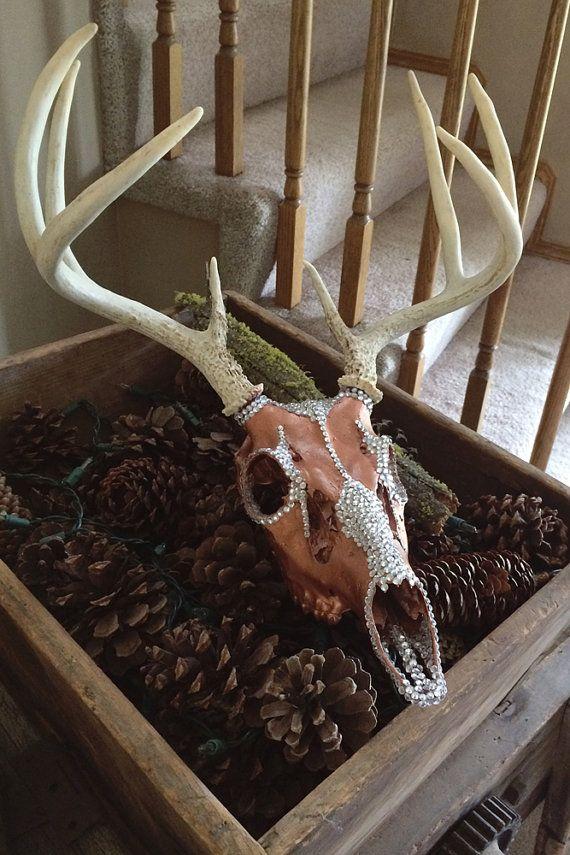 Deer Skull Rhinestone European Mount Rustic Home