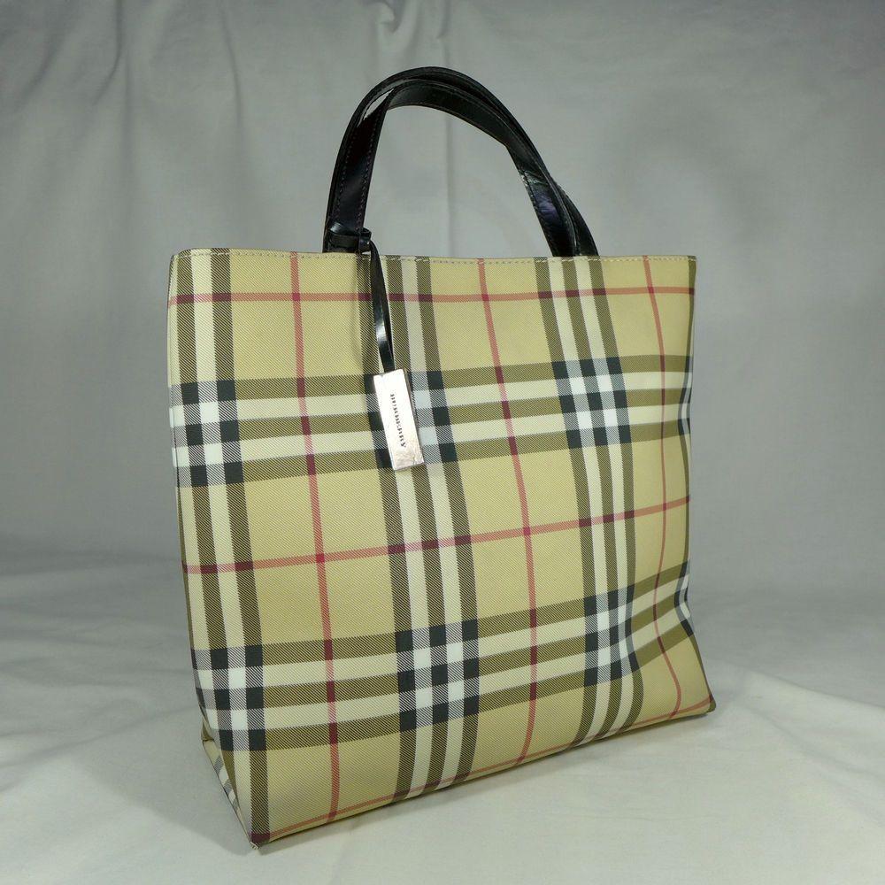 Authentic Vintage Burberry Nova Check Large Tote Handbag London Burberry Bag Burberry Handbags Burberry Tote