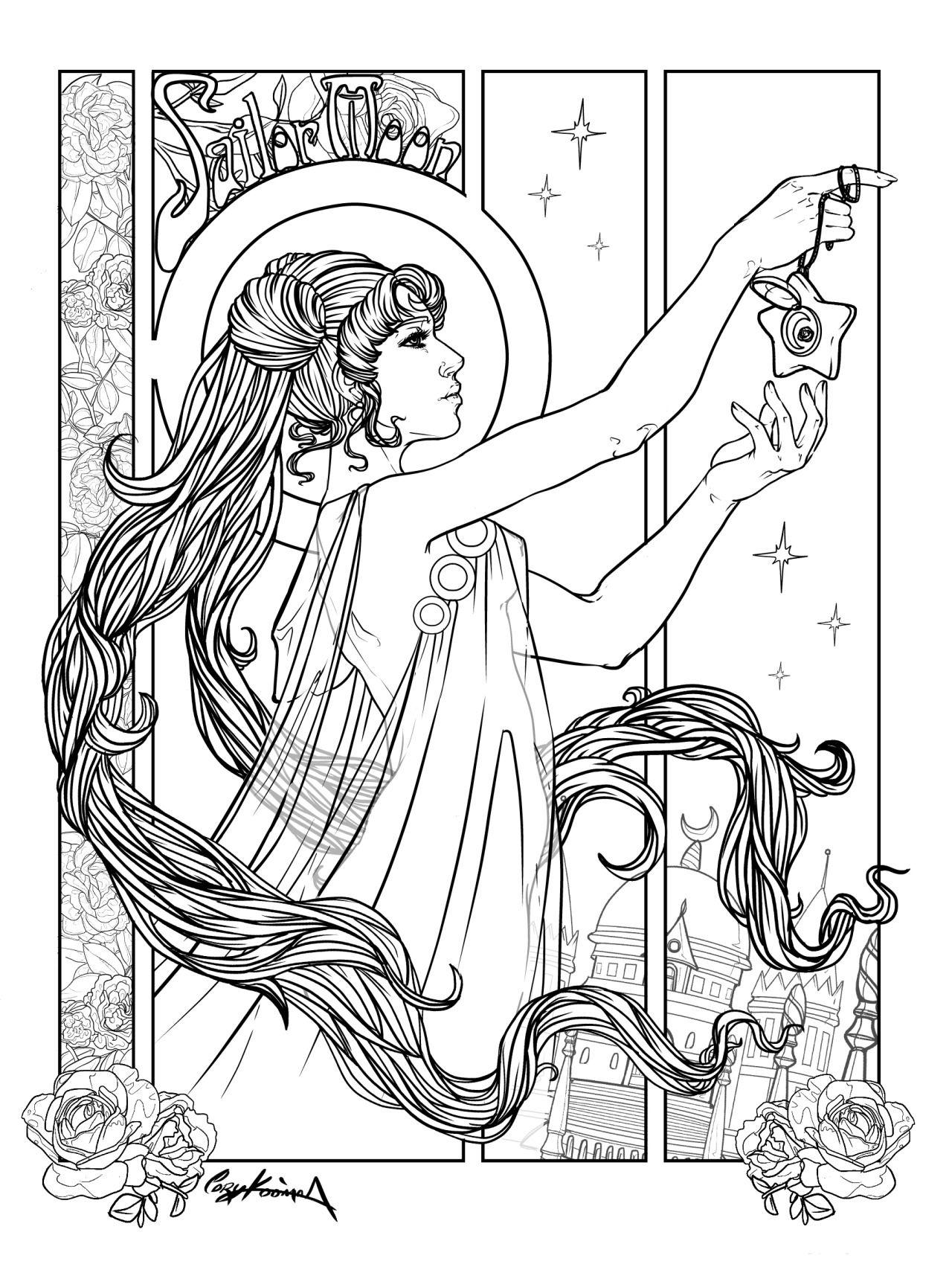 The Star Sailor Moon Art Nouveau Tarot Card Final Lineart