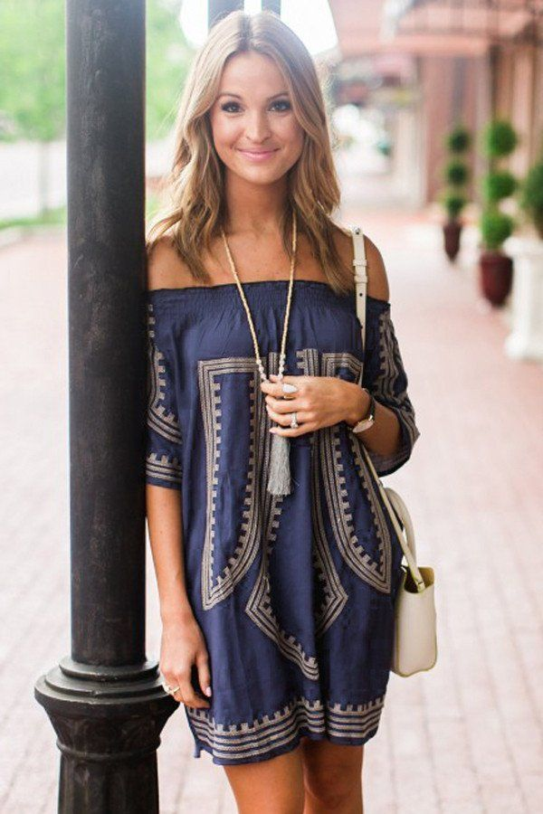 foto de Navy Blue Bohemian Vibe Geometric Print Off The Shoulder