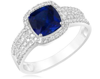 $12.99 - 2 Carat Created Blue Sapphire Ring in Sterling Silver