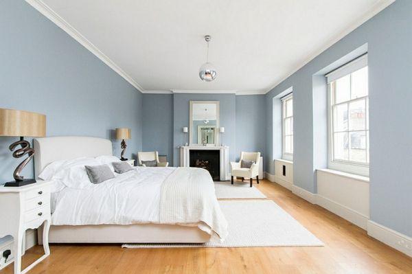 Schlafzimmer ideen wandgestaltung blau  Innendesign in Blau und Weiß - frische Farben wirken entspannend ...