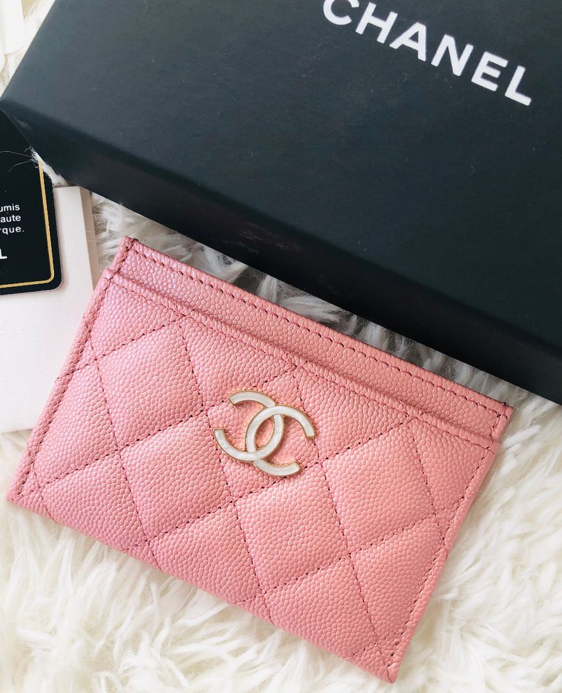354299ef Chanel CC Pearly Iridescent Pink Flat Card Holder Card Case Mini ...