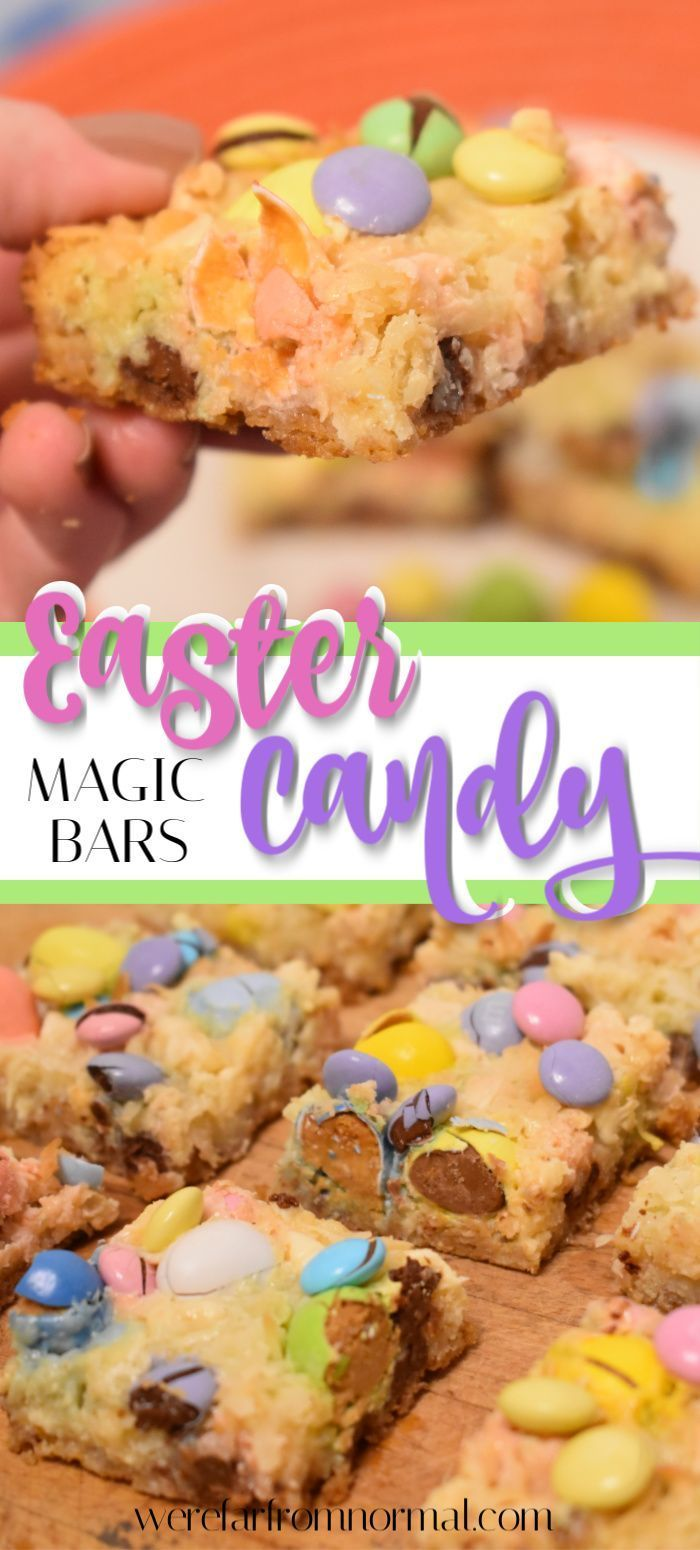 you love Easter chocolates? Cook up these Easter candy magic bars, that are loaded with M&M's, Reese's Pieces Eggs, Cadbury mini eggs and a ton of other deliciousness!!