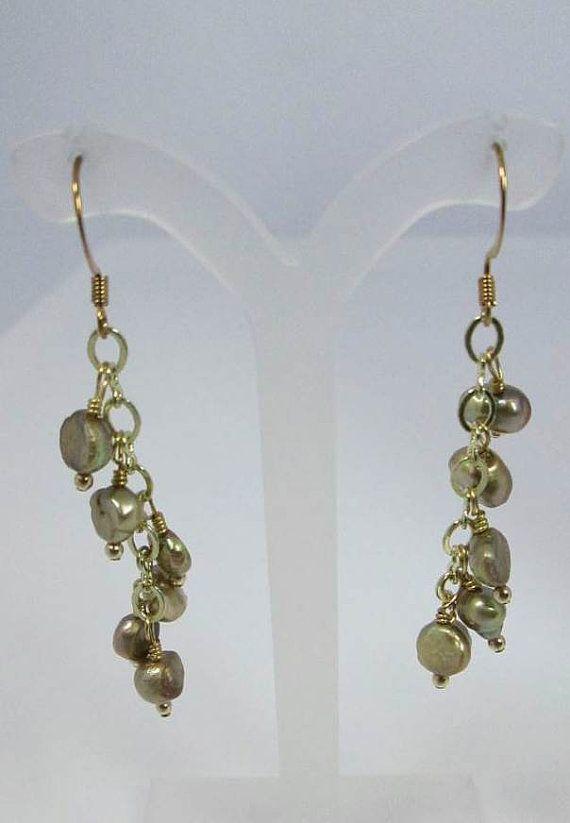 Freshwater Pearl Earrings Green Earrings Green by JewelsInspire