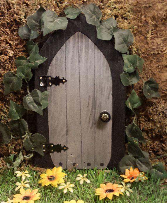 A Fairy Door Gnome Door That Opens 12 Inch Rounded Gnome Fairy Door With Lion Knock Gnome Door Fairy Doors Elf Door