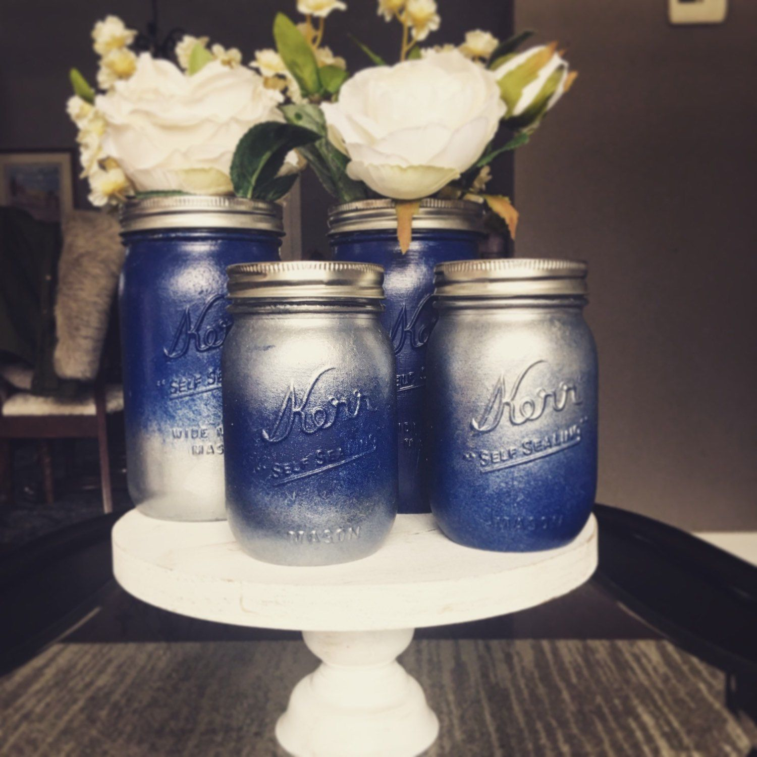 Hand Painted Ombre Mason Jars Blue And Silver Silver Mason