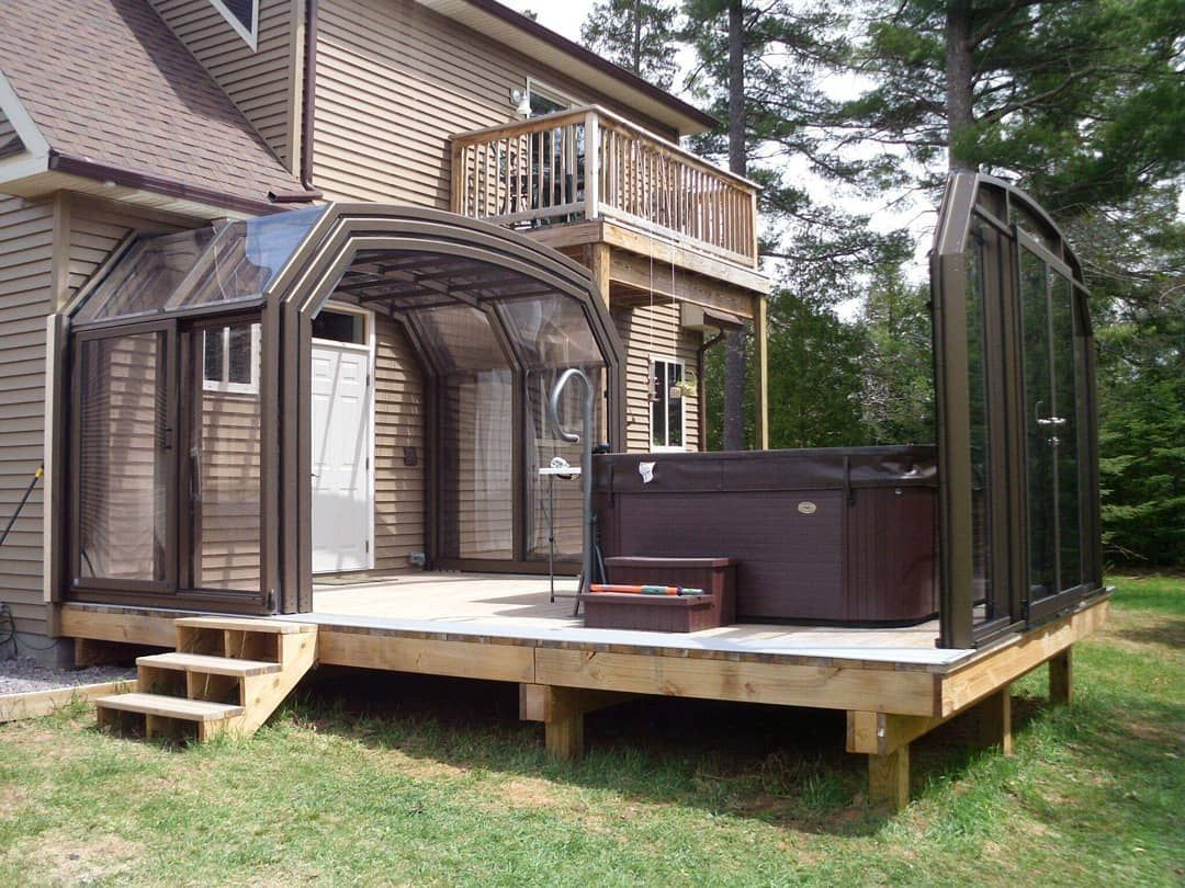 Retractable Patio Enclosure And A Hot Tub To Match Yesplease If You Have A Patio That You Would Like To Use Year Round No Matter The