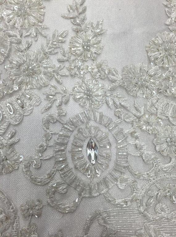 White Scalloped Sequin Bridal Fabric 52/'/' PRICE PER METER