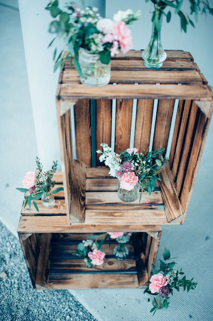 Kistenwand Vintage Holzkiste Hochzeitsdekoration Deko Aussen