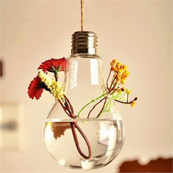 Bulb Hanging Crystal Flower Vase Planter Hydroponic Pot Party Home Art Decoration