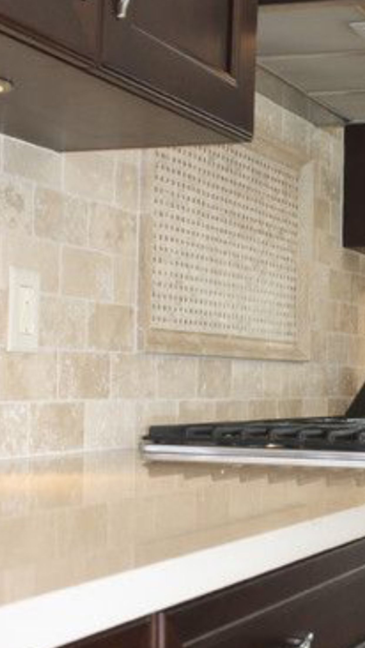 Travertine Backsplash With White Quartz Countertop More