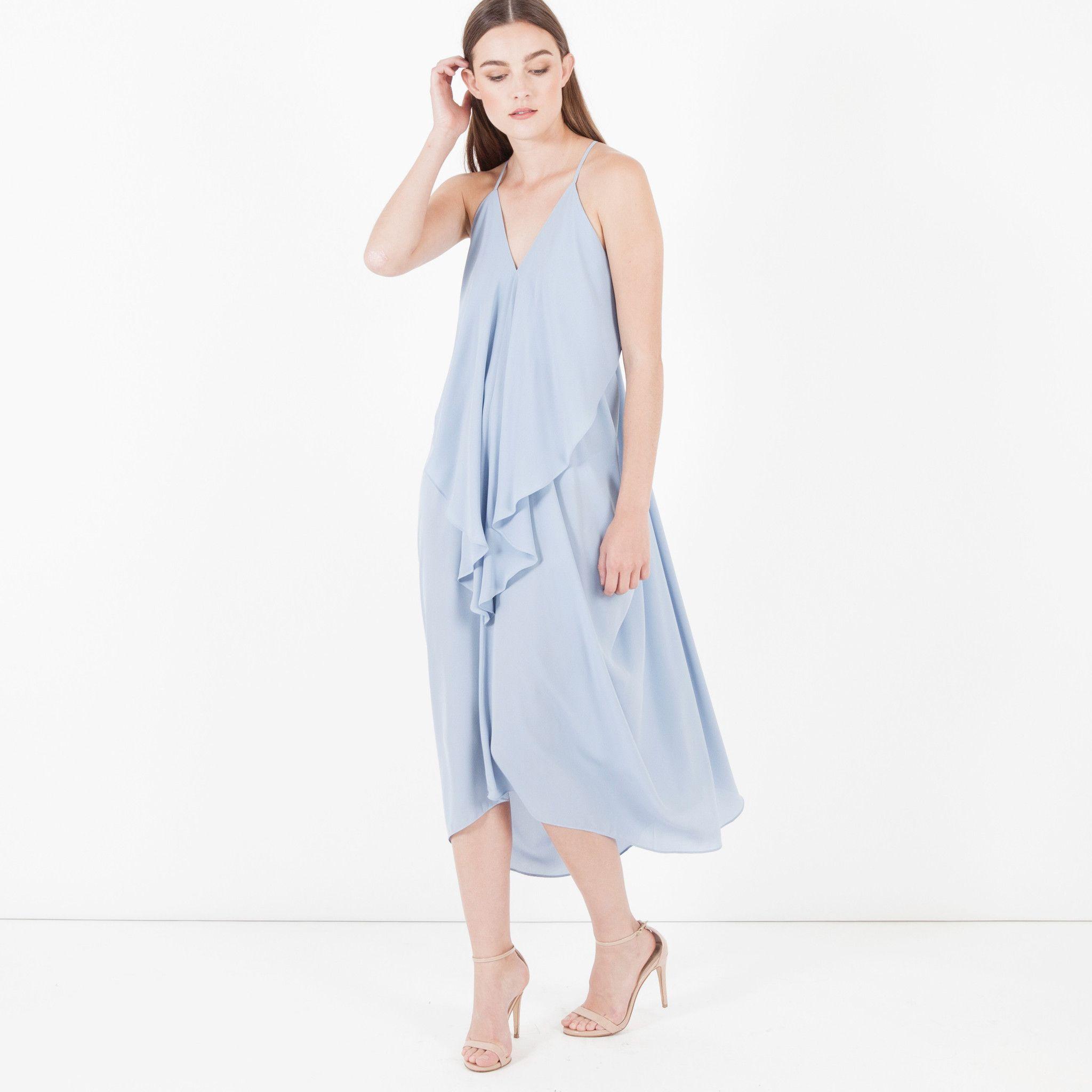 ****GOT THIS**** Modern Citizen  |  Handkerchief Draped Dress (Pale Blue) $88