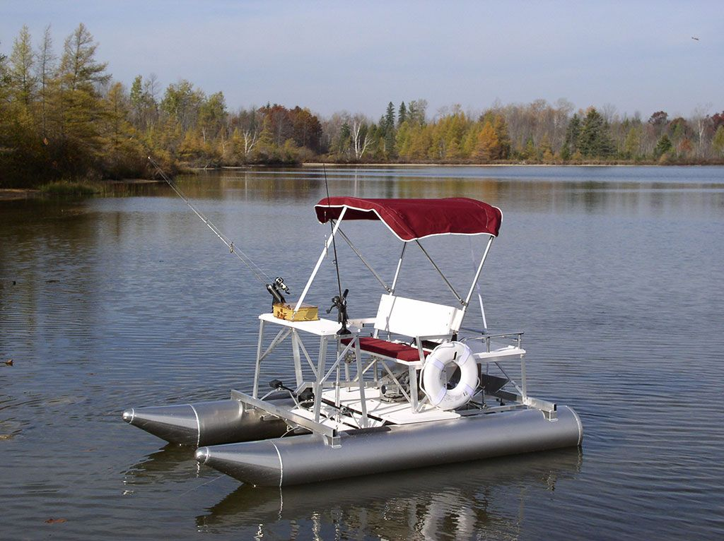 The aqua cycle 15 pontoon paddle boat can also be equipped for Mini pontoon fishing boats