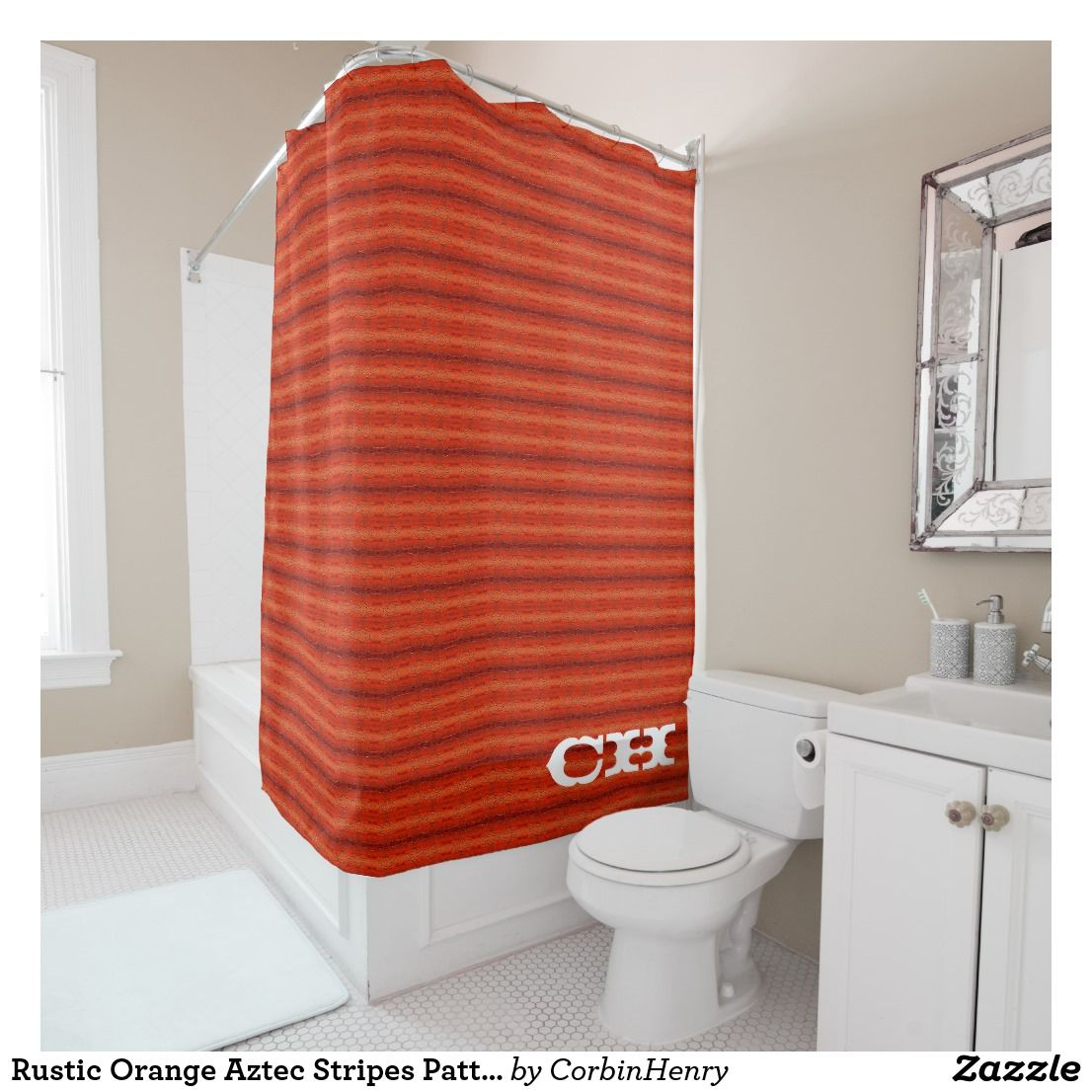 Rustic Orange Aztec Stripes Pattern Monogram Shower Curtain By Corbin Henry  With Western Style Letter Font