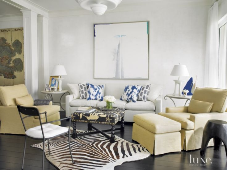 Animal prints and ethnic touches continue into the family room for
