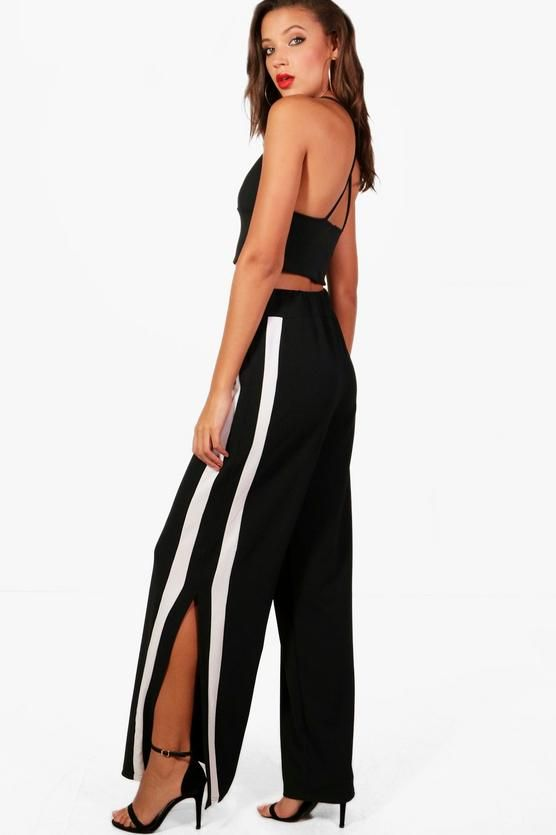 Clearance Boohoo Tall Contrast Panel Wide Leg Trouser Sale Explore Cheap Sale Cheapest Clearance Excellent 7zJlj