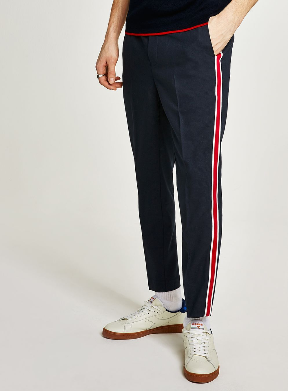 c6da487187686 Navy Tonal Check Smart Joggers With Side Stripe - Latest Trend - New In -  TOPMAN