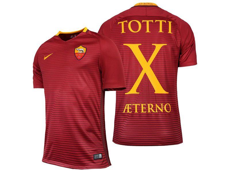 92f0d38fad3f AS Roma Francesco Totti X AETERNO 2016-17 Home Short Shirt | AS Roma ...