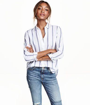 feaac20ed17f Camisa de algodón | Blanco/Rayas | Mujer | H&M MX | H&M | Camisas de ...