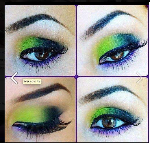 maquillage artistique, dans  les tons vert, violet, bleu marine