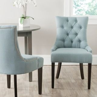 Luxe Eetkamer Set.Safavieh En Vogue Dining Abby Sky Blue Dining Chairs Set Of 2