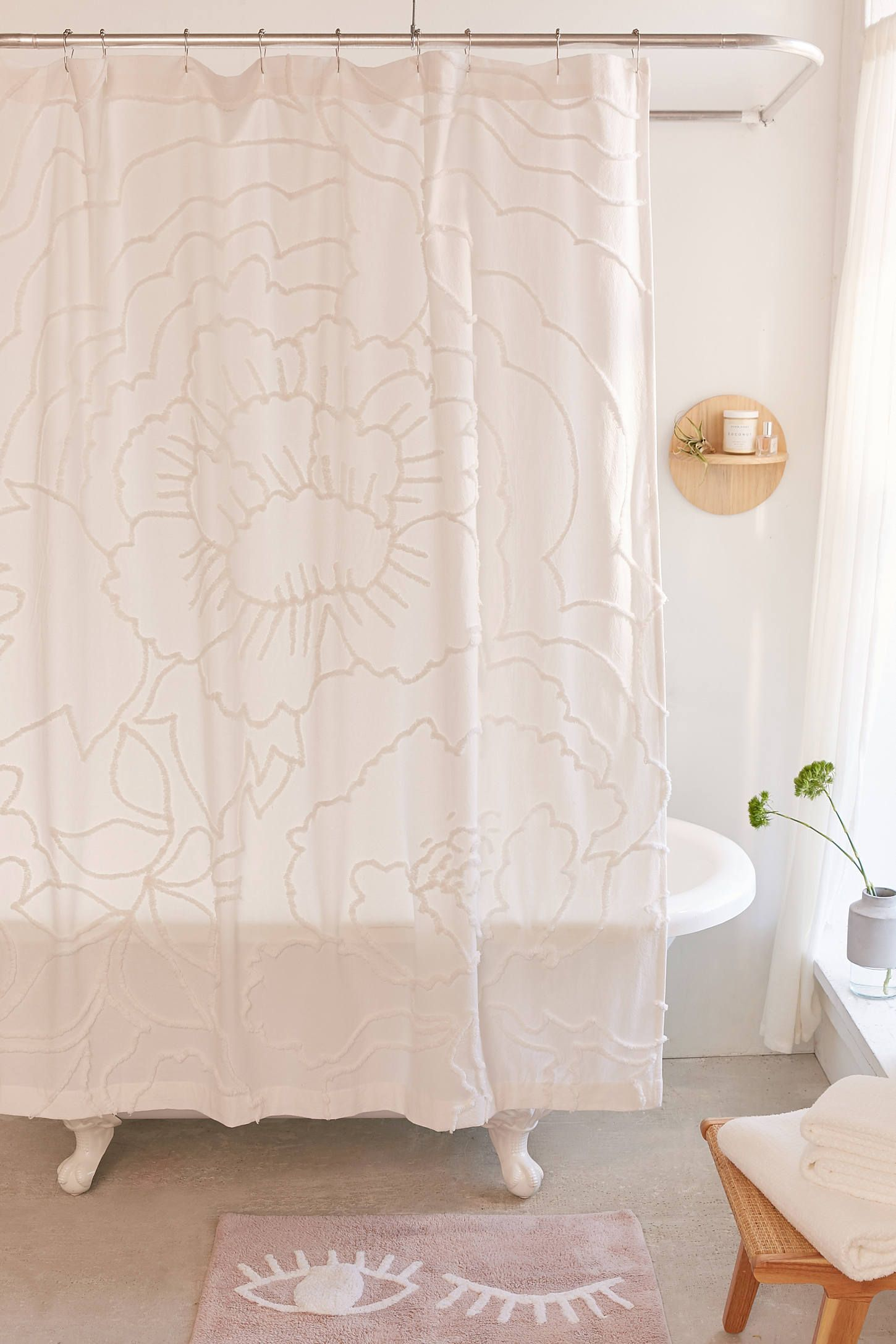 Margot Tufted Floral Shower Curtain Floral Shower Curtains