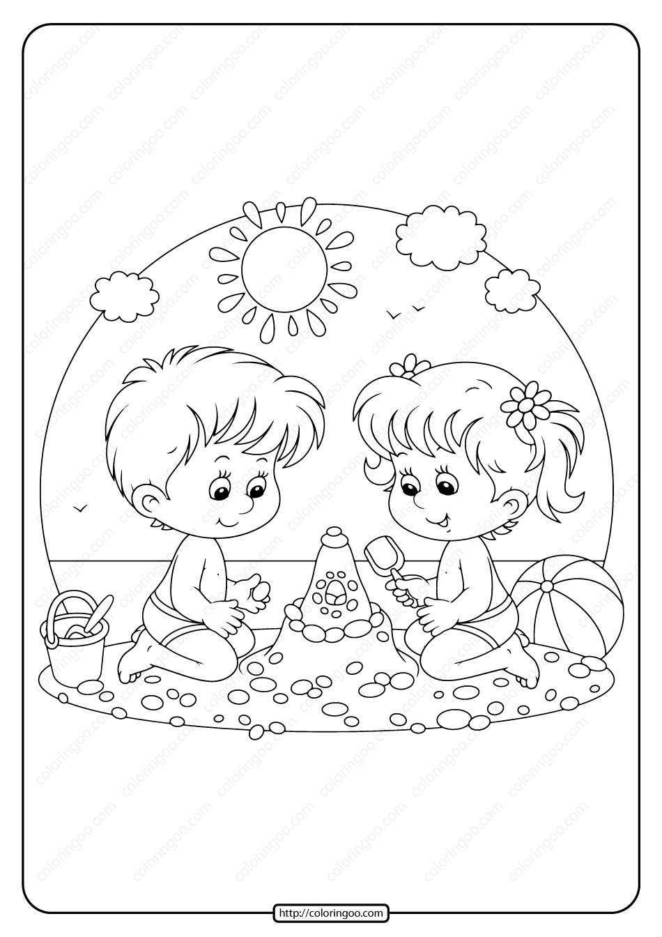 Boy And Girl Playing On The Beach Coloring Page Beach Coloring Pages Coloring Pages Girls Play [ 1344 x 950 Pixel ]