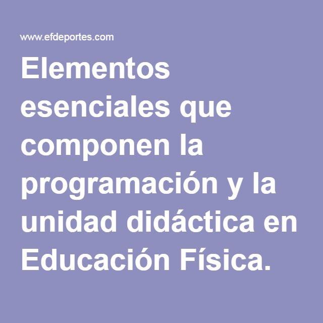 Elementos Esenciales Que Componen La Programación Y La Unidad Didáctica En Educación Física Enfoque Relacional Glo Educacion Fisica Unidad Didactica Educacion