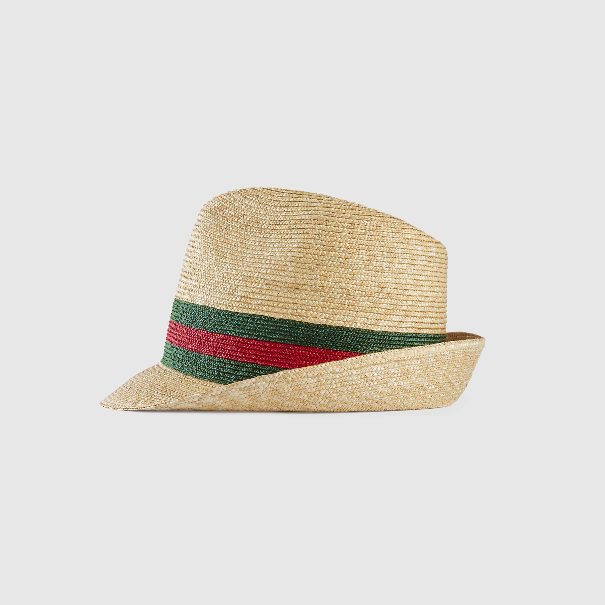 Woven straw fedora in Beige woven straw with dark green stripe  b20cac64866c