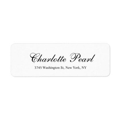Elegant Handwriting Classical Plain Black White Label White - Plain address labels template