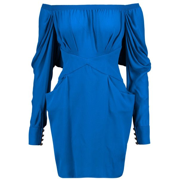 Balmain Gathered silk-chiffon and crepe mini dress (61.040 RUB) ❤ liked on Polyvore featuring dresses, royal blue, blue mini dress, ruched dress, zipper dress, shirred dress and crepe dress