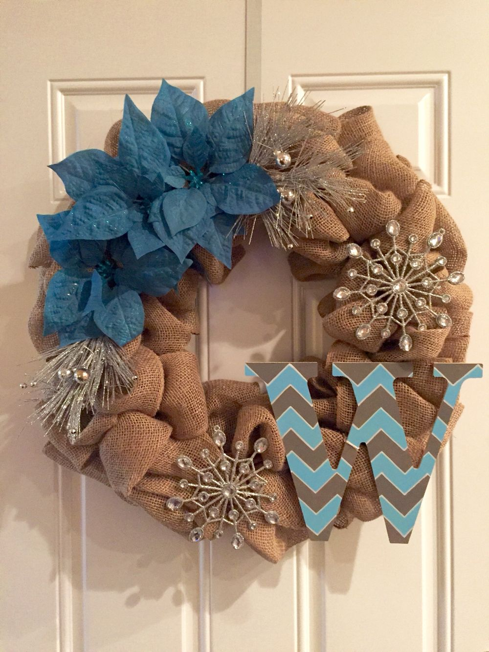 Burlap winter wreath with chevron painted letter the flowers and