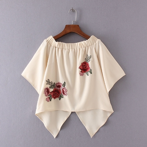 12.4$  Buy here - http://aih59.worlditems.win/all/product.php?id=G8413BE-S - New Summer Off Shoulder T-Shirt Floral Embroidery Flare Sleeve Irregular Hem Casual Loose Top Beige