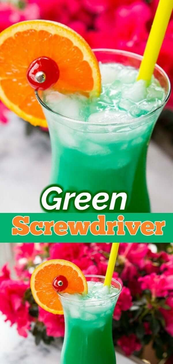 Green Screwdriver Cocktail Drink | The Kitchen Magpie
